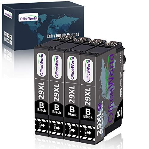 OfficeWorld Sostituzione per Epson 29 29XL Cartucce d'inchiostro Compatibile con Epson Expression Home XP-342 XP-442 XP-245 XP-345 XP-247 XP-445 XP-235 XP-432 XP-332 XP-335 XP-435 XP-255 (4 Nero)