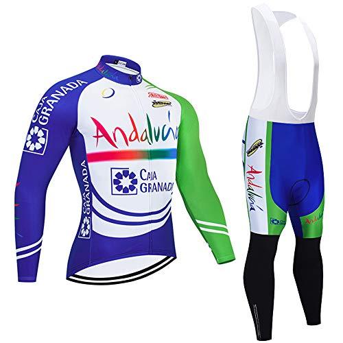 Maillot Ciclismo Hombre Respirable Ropa MTB + Pantalones Largos Secado Rápido Conjunto Ropa Ciclismo para al Aire Libre Ropa Enduro MTB