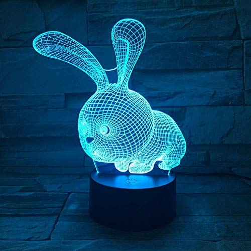TIANXIAWUDI Square Rabbit 7 Colors Touch Cute Bunny Lamp/Touch Sensor Child Kids Baby Gift Night Light/Home Decor Lighting Rabbit LED Night Lights-Lying Rabbit_16 Color Remote Control