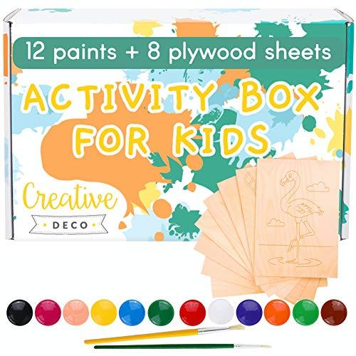 Creative Deco Bastelset Kinder-Farben Fingerfarbe + Mal-Set für Kinder | 8 Sperrholzplatten mit 12 Farben & 2 Pinsel | 20 ml Mehrfarbige Becher | Zeichnungen Bereit zum Einfärben | Fingermalfarben