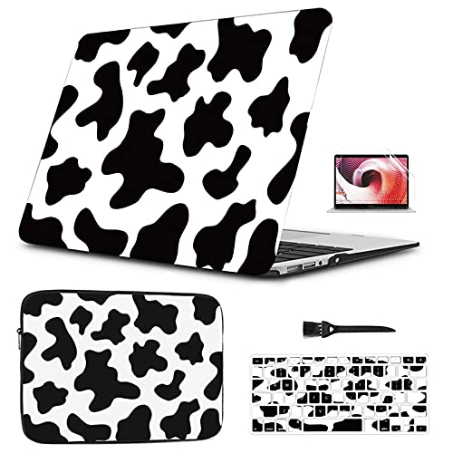 MacBook 13 inch Case & Laptop Sleeve - Black White Cow Texture Seamless Plastic Hard Shell Laptop Case Sleeve Bag Compatible with A1466/A1369 Mac Air 13' No Touch ID 2010-2017 Ver