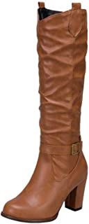 ELEEMEE Women Wide Calf Pull On Slouch Boots