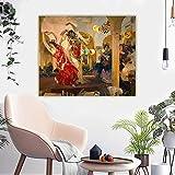 Cuadros Decoracion Salon Joaquin Sorolla《Mujeres bailando flamenco en el café de Sevilla》Cuadro Lienzos Decorativos Cuadros Decoracion Dormitorios Poster Decoración Pared 75x90cm 30 'x35' Sin marco