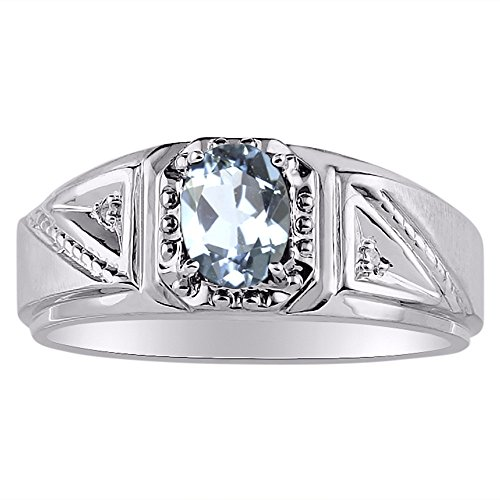 Diamante y anillo de aguamarina plata de ley o chapado en oro amarillo
