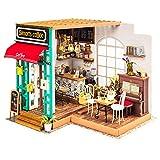 Cafopgrill Casa de muñecas en miniatura modelo casa de muñecas y muebles estilo americano vintage casa de madera hecha a mano juguete Simon sol casa café