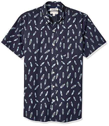 Marca Amazon – Goodthreads – Camisa estampada de manga corta de popelín y corte estándar para hombre, Navy Feather Print, US XS (EU XS)