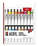 Marabu 1210000000202 - Juego de pinturas acrílicas con 18 colores de 12 ml, opacas, brillantes y mates a base de agua, para bastidores, cartones, papeles y madera, secado rápido