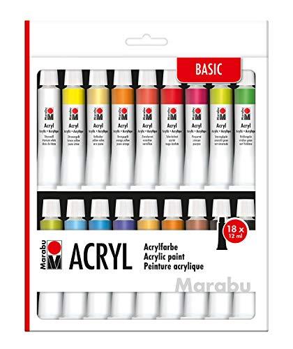 Marabu 1210000000202 - Acrylfarbenset, deckende Acrylfarben auf Wasserbasis, Trocknen Schnell und matt glänzend auf, für viele Untergründe geeignet, Wasserfest und lichtbeständig, 18 x 12 ml Farbe