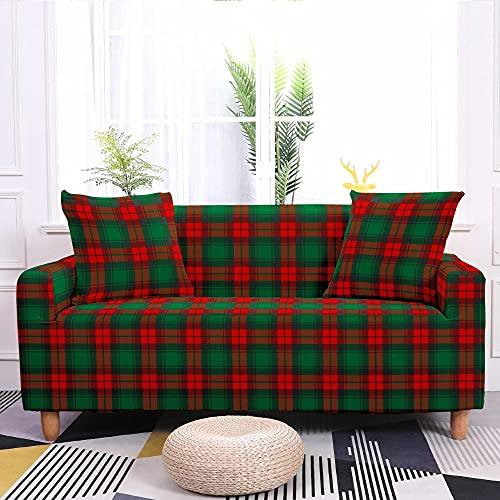 Fundas Sofas 3 y 2 Plazas Ajustables Navidad Verde Rojo Fundas para Sofa Ajustables Funda Sillon Spandex Lavables Cubre Sofas Chaise Longue Modernas Funda Sofá Universal Fundas de Sofa Espesas