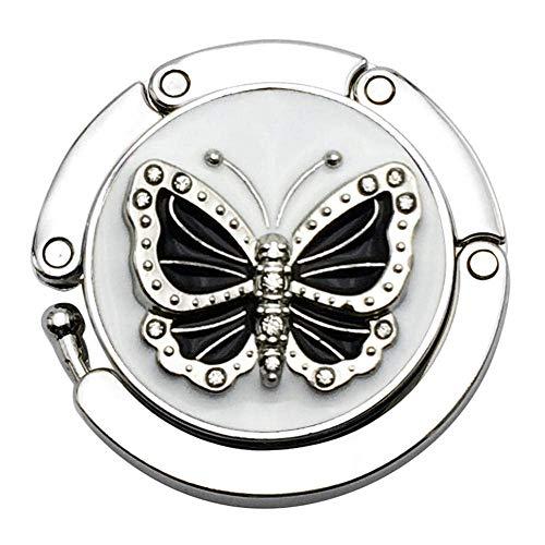 LYMUP Ganchos blanco mesa bolso portátil redondo Rhinestone bolsa suspensión antideslizante plegable gancho monedero patrón mariposa durable aleación de zinc