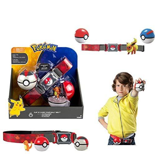 Zking Ceinture De Balle Pokemon Elfe, Pikachu Pokeball Poche Monstre Variante Modèle Jouet Ensemble Cosplay Figurine Modèle Enfants Jouet Cadeau