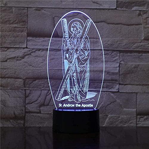 FFVVE 3D Illusionslampe LED Nachtlicht Vision 7 Farbe St Andrew Der Apostel Modelling Tischlampe Geschenke USB Jesus Cross Bett Dekoration