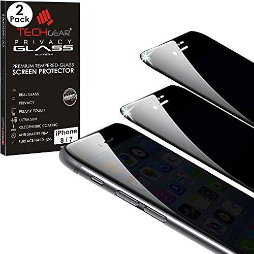 TECHGEAR [2 Piezas] Anti Espía Protector de Pantalla para iPhone 8/7 / 6 - PRIVACIDAD 3D Vidrio Edición Cobertura Completa Protector de Pantalla Vidro Templado Compatible con Apple iPhone 8/7 / 6