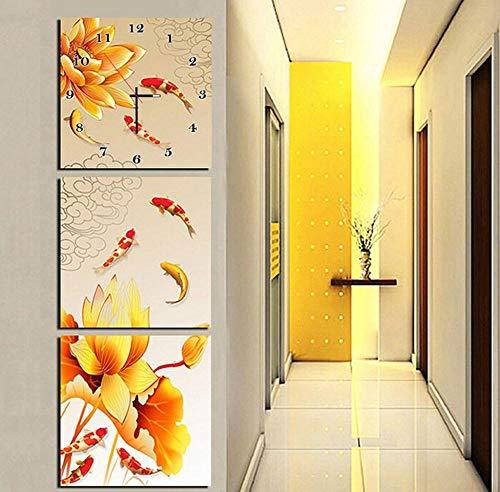 WFQGZ Reloj de Pared Mural Pintura sin Marco Moderna Sala de Estar Comedor decoración Pintura Relojes Lienzo Pintura Triple Reloj de Pared Lotus Nueve Peces figura60X60CMhoja