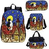 Juego de bolsas escolares para niños, de 43 cm, dos gatos amantes con Sky School Bags Set para trabajo, escuela, viajes, picnic