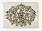 N / A Alfombra de baño de Mandala marrón, Imagen de Mandala Detallada Antigua, Estampado de Hojas de muaré Tribal, Felpa Decorativa para baño con Respaldo Antideslizante, marrón y cáscara de Huevo