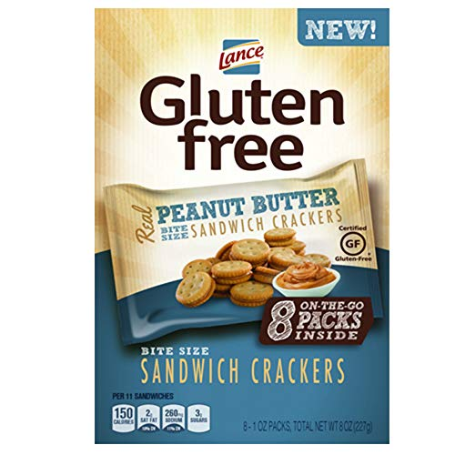 Lance Gluten Free Peanut Butter Sandwich Crackers, 8 Count of 1 Oz. Bags