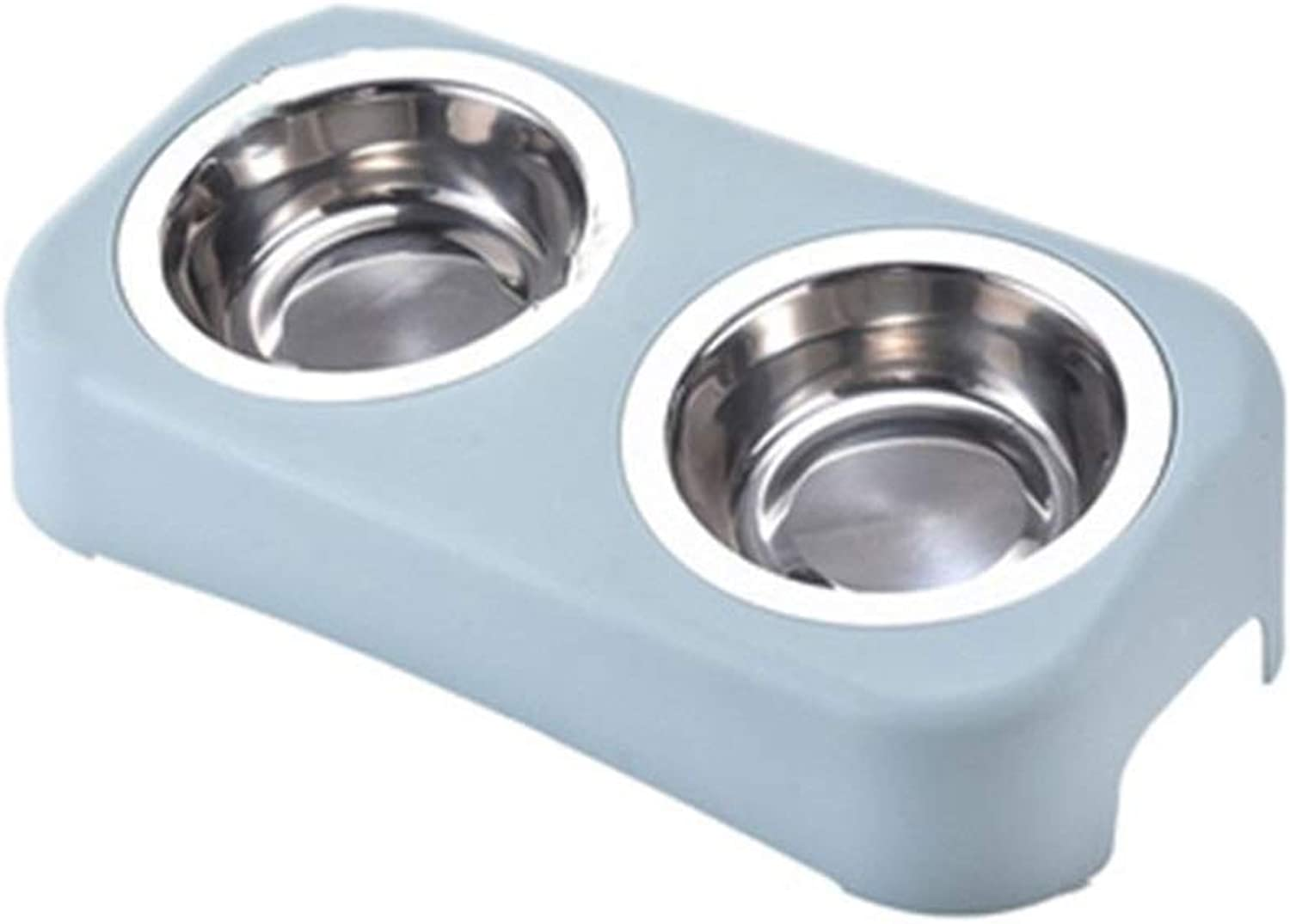 DSADDSD Pet Bowl Bevel Cat Dog Bowl Stainless Steel Nonslip Double Bowl High Foot Pet Supplies (color   2 , Size   M)
