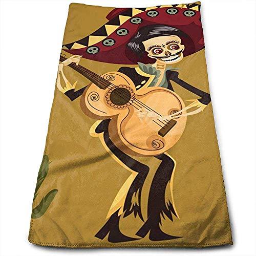Bert-Collins Towel Jour du Morte Squelette Personnalité Amusante Motif Visage Serviettes Superfine Fibre Super Absorbant Doux Serviettes de Gym