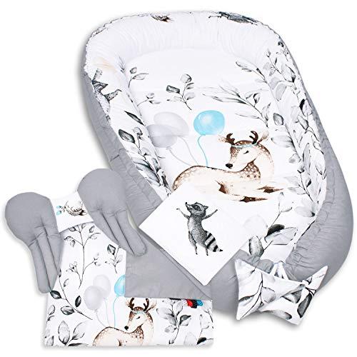 5tlg. PALULLI Premium Kuschelnest Set inkl. Babynest 90x50 Herausnehmbare Einlage Kuscheldecke Nackenkissen Flachkissen für Babys, 100% Baumwolle OEKO TEX (BAMBI GRAU)