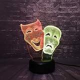 Lámpara de ilusión óptica 3D Máscaras de comedia y tragedia Luz de noche Lámpara de mesa de noche para niños Led 7 colores Cambio automático Interruptor táctil Niños Regalos de cumpleaños de Navidad
