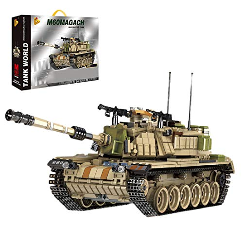 HYZM Panzer Bausteine, 1753 Teiles 2 in 1 WW2 Israel M60 Magach Kampfpanzer Militär Panzer Spielzeug, Kompatibel mit Lego Technic