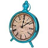 BELLE VOUS Retro Vintage Reloj de Escritorio 23x16,5cm - Reloj de Mesa Redondo Estilo Francés Números Romanos Vintage, Reloj de Metal Silencioso no Hace Tictac Movimiento de Cuarzo, Decorar el Hogar