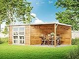 Alpholz Gartenhaus Delices aus Massiv-Holz | Gerätehaus mit 28 mm Wandstärke | Garten Holzhaus inklusive Montagematerial | Geräteschuppen Größe: 585 x 326 cm | Flachdach