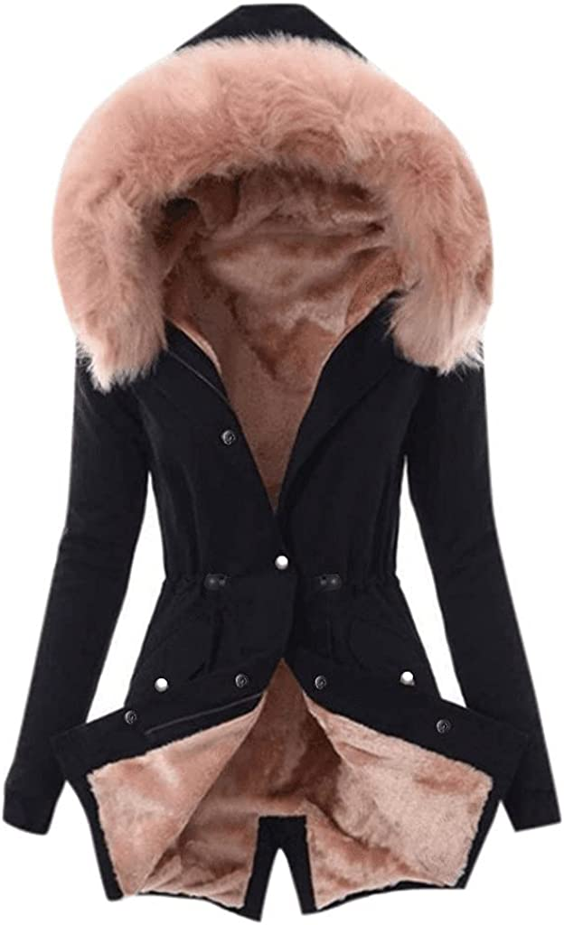 Messigaot Faux Fur Lining Coat Womens Winter Warm Thick Long Jacket Hooded Overcoat Fashion Trench Coat with Fur Hood