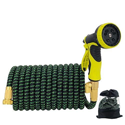 Mangueras de jardín 25-100 pies Accesorio de latón Flexible expandible con Pistola de...
