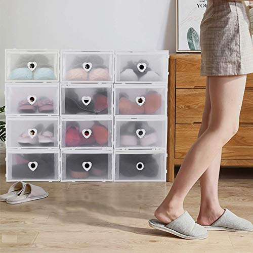 Gaolx Caja de Zapatos, Caja de Zapatos Plegable de 12 Piezas, Caja Transparente de plástico, Organizador apilable, Forma para una fácil organización y a