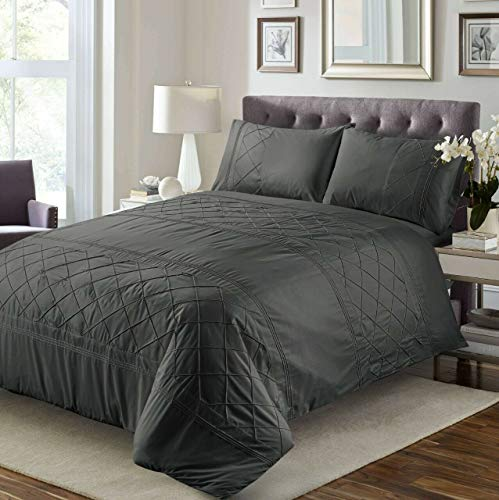 Great Knot 100% Percale Egyptian Cotton Blemount Pintuck Duvet cover Set With Pillowcases Quilt Bedding Set Single Double King Super Sizes (Charcoal, Super King)