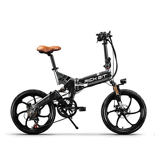 RICH BIT ZDC RT-730 LCD ebike Plegable Bicicleta eléctrica de 20 Pulgadas 48v 8ah batería Oculta 【Libre de impuestos】 (Black-Gray)