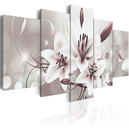 murando Cuadro en Lienzo 100x50 cm Flores Impresión de 5 Piezas Material Tejido no Tejido Impresión Artística Imagen Gráfica Decoracion de Pared Lirios b-C-0041-b-n