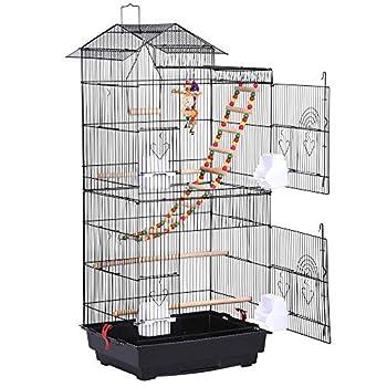 Cage oiseaux en métal peint, PP, bois, non toxique, noir Cage comporte 4 tasses en plastique, 3 bois perchoir, 2 jouets(couleur de jouet au hasard), 1 échelle, 1 balançoire Grille et plateau coulissant amovible pour un nettoyage pratique Dimension to...