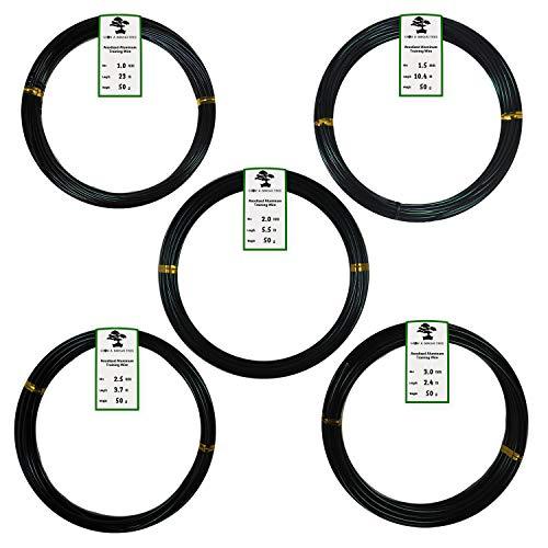 Grow A Bonsai Tree Aluminio Anodizado Alambre de Bonsai 5-Tamaño Set de Iniciación - 1,0mm, 1,5mm, 2,0mm, 2,5mm, 3,0mm (45 Metros Total) - (5 Tamaños, Negro)