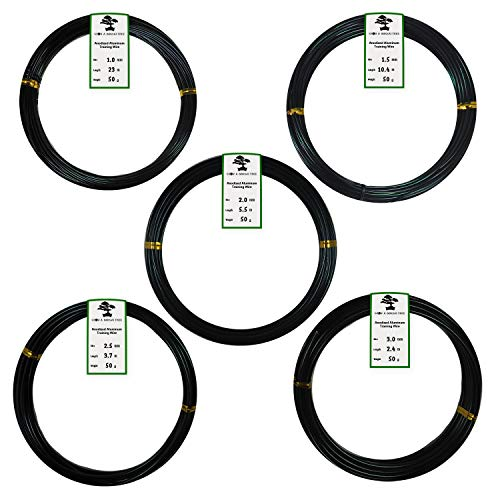 Anodized Aluminum Bonsai Training Wire 5-Size Starter Set - 1.0mm, 1.5mm, 2.0mm, 2.5mm, 3.0mm (147 feet Total) - Choose Your Color (5 Sizes, Black)