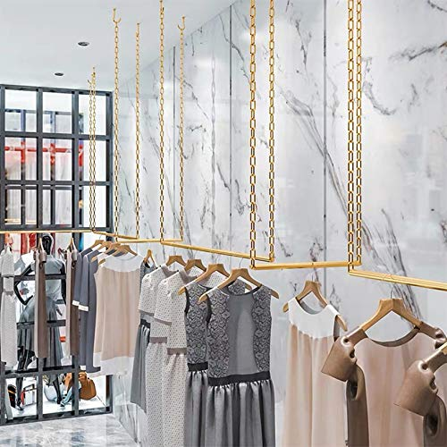 FURVOKIA 2 Pcs Creative Height Adjustable Metal Chain Clothing Hanging Racks,Commercial Wedding Dress Display Shelf,Retail Store Iron Garment Rack,Ceiling Mount Clothes Storage Hanger(Gold, 47.2 L)