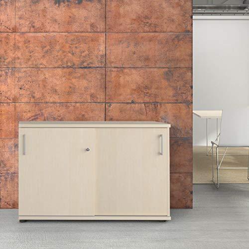 Weber Büro Uni Schiebetürenschrank Sideboard abschließbar 1,2M breit 2OH Ahorn Aktenschrank