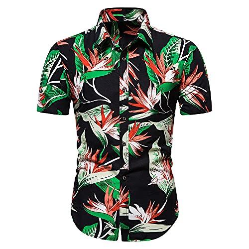 Los hombres de verano casual hawaiano camisa de manga corta camisa superior blusa vacaciones hombres ropa hawaiana