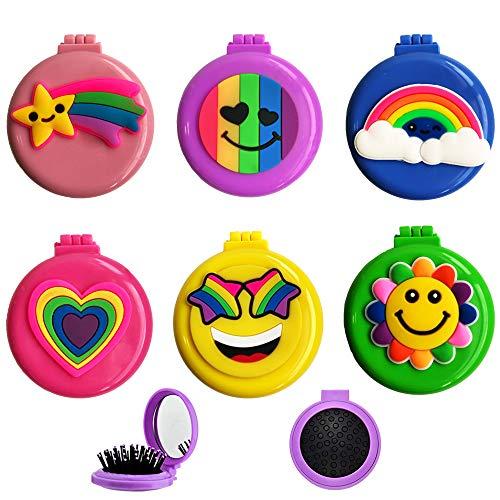 Ulife Mall 6 Piezas Cepillos de Pelo de Viaje Redonda con Espejo de Maquillaje, Cepillo de Pelo de Bolsillo Plegable Peine de Masaje Compacto Cepillo Desenredante para Niñas Regalo de cumpleaños Niños