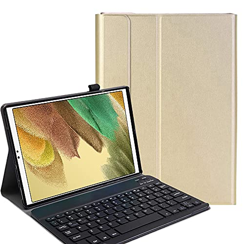 YHFZR Funda Teclado Español Ñ para Samsung Tab A7 Lite 8.7, Español Slim Teclado Keyboard Case con Magnético Desmontable Inalámbrico para Samsung Tab A7 Lite 8.7 SM-T225/T220, Oro