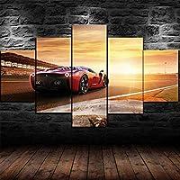 5パネルキャンバスプリント絵画壁アート赤スーパースポーツカー家の装飾額入り写真リビングルームギャラリーのモダンアートワークの装飾-ラップされたストレッチされたハングする準備ができて