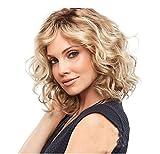 Parrucca da donna corta dritta media lunghezza bionda Bobo Head Bob Style 35,6 cm ondulata lunga sintetica resistente al calore come capelli veri