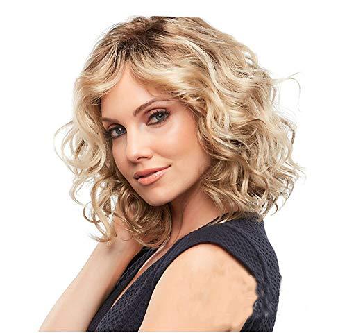 Damenperücke, kurz, glatt, mittellang, blond, Bob-Style, 35,6 cm lang, gelockt, synthetisch, hitzebeständig wie Echthaar-Perücken
