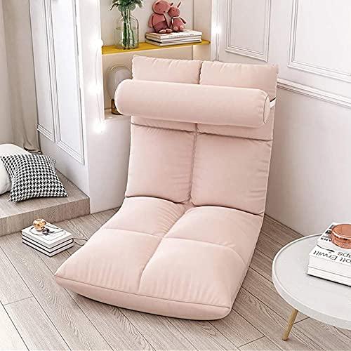 Elegante Sofa Plegable de Suelo Multi-ángulo,Silla Plegable de Suelo Acolchada Regulable con Respaldo para el Hogar y la Oficina,Sillon Relax para Meditación o Gaming(Rosa)