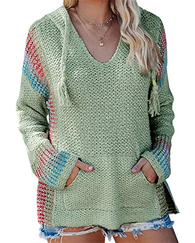 Yacooh Women's Hoodies Pullover Boho V Neck Striped Hooded Sweaters Lightweight Drawstring Sweatshirts with Pocket