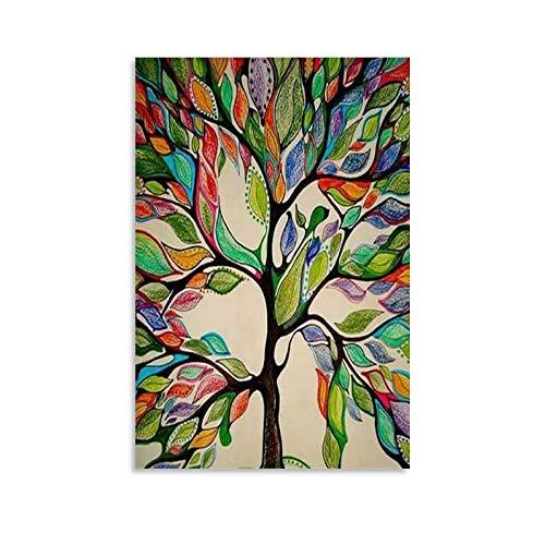 DHSJ - Quadro astratto con albero della vita, pittura decorativa su tela, per soggiorno, camera da letto, 60 x 90 cm
