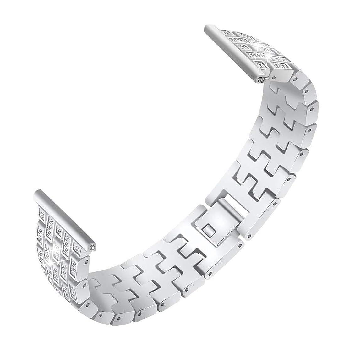 ずらすアクセスできない増幅するSamsung Galaxy Watch 42mm に対応リストバンド,女性女の子ダイヤモンドのラインストーンのきらめきのスポーツのリスト?ストラップ、金属のブレスレットの取り替えの革紐 (銀)