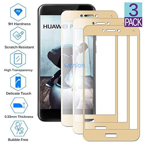 Wenlon [3 Unidades Protector de Pantalla de Cristal Templado para Huawei P8 Lite 2017 / Honor 8 Lite, Vidrio Duro 9H, Protector de Pantalla HD de Cobertura Total -Dorado